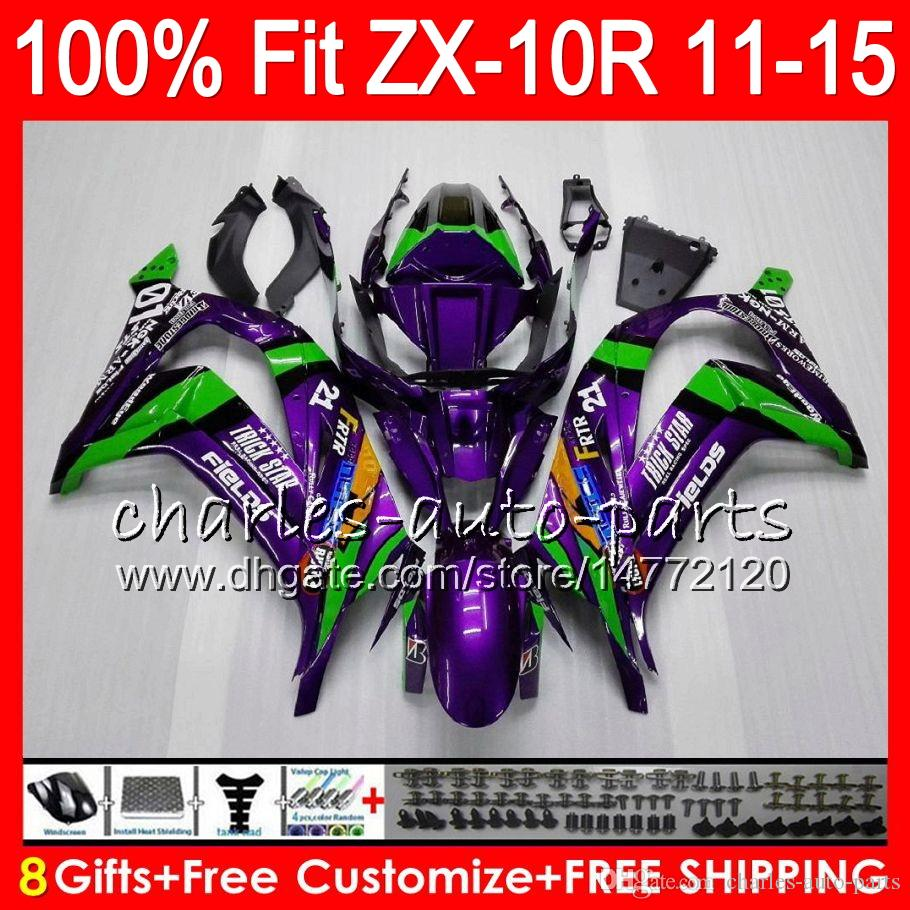 8Gifts Injection para KAWASAKI NINJA ZX 10R ZX10R 11 12 13 14 15 Verde púrpura 50NO22 ZX-10R ZX10 R 2011 2012 2013 2014 2015 Fairing