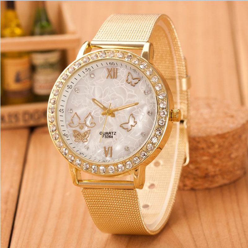 100% Quality 2016 New Famous Brand Silver Casual Geneva Quartz Watch Women Metal Mesh Stainless Steel Dress Watches Relogio Feminino Clock Watches