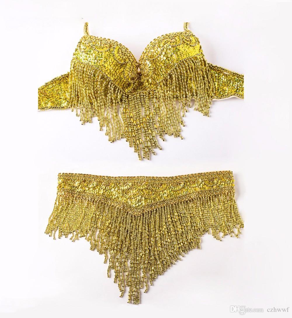 2017 Frauen Bellydance Kleidung Eastern Style Perlen Top und Gürtel 2 stücke Set Kostüme für Bauchtanz Bh Kostüm mit Halskette