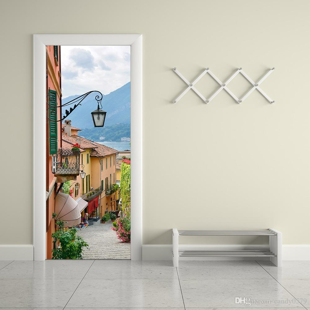 The Italian Town Door Stickers 3d Pvc Self Adhesive Wallpaper Waterproof  Door Decoration Wall Murals Decals Wall Murals Stickers From Candy0579, ...