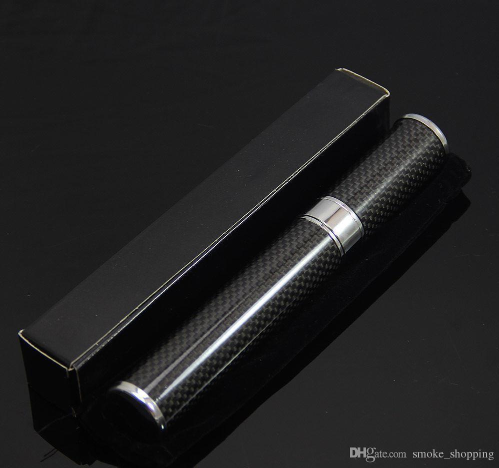 COHIBA Black Carbon Fiber Cigar Tube Holder Travel Case Portable Travel Cigars Humidor For Smoking Use