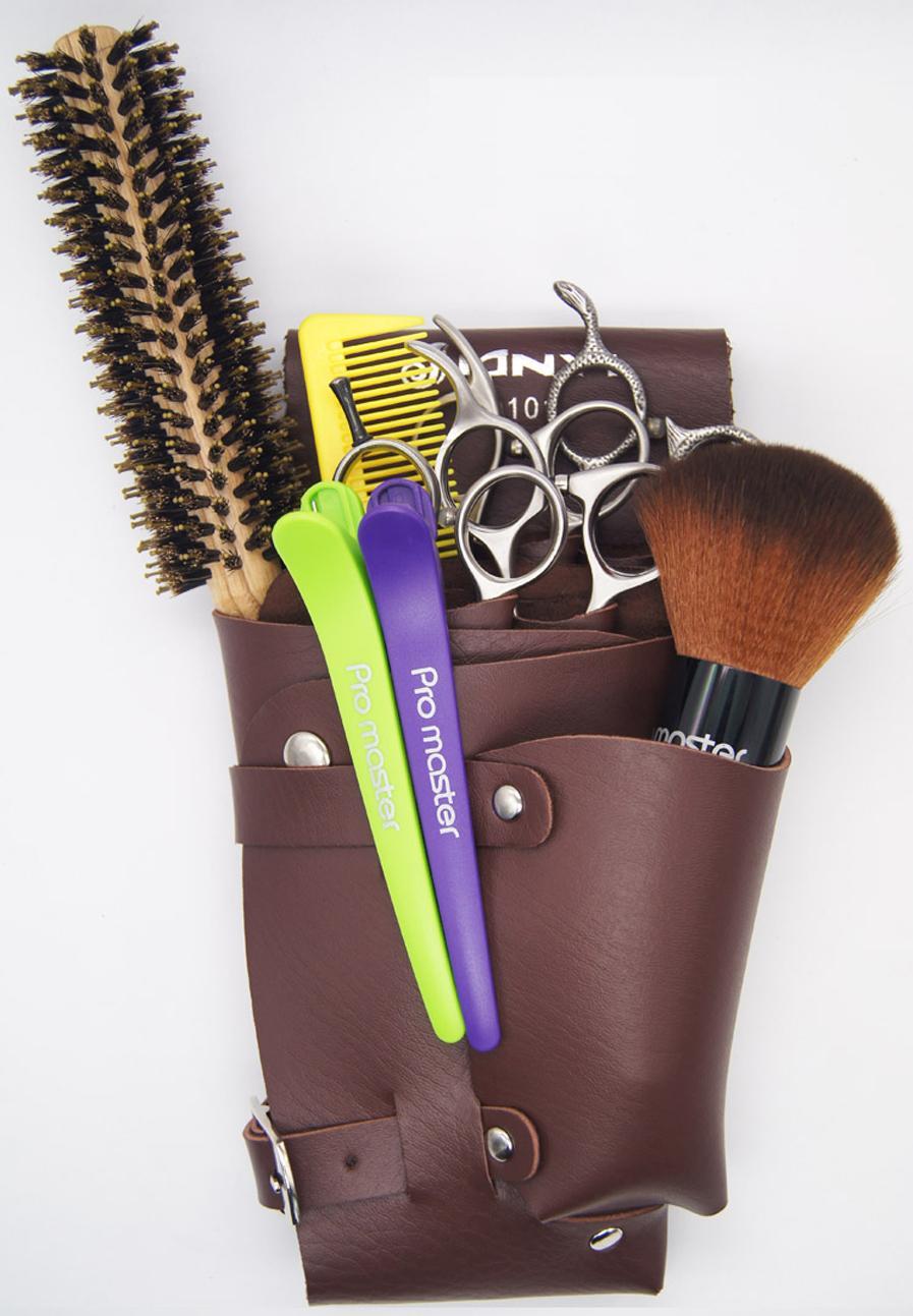 Bolso de cuero de la PU del remache del pelo de los clips de tijera, peluquero tijera de la funda de la funda del sostenedor de la bolsa de la pistolera con la correa del hombro