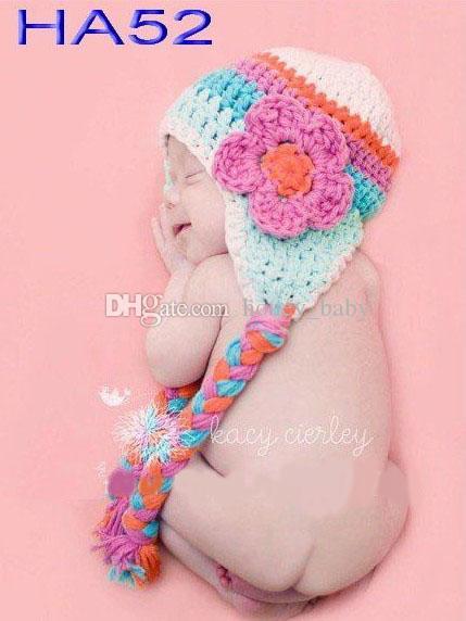 a398343570e 2019 Crochet Rainbow Striped Floral Hat Newborn Toddler Infant Kids Winter  Flower Cap Baby Girls Princess Children Beanie Earflaps 100% Cotton From ...