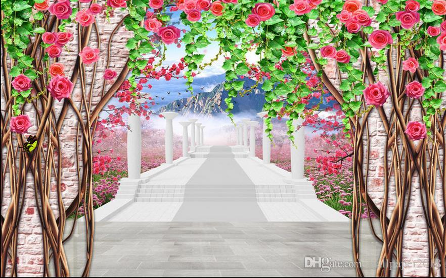 Roman peach flower vine brick wall 3D TV backdrop mural 3d wallpaper 3d wall papers for tv backdrop
