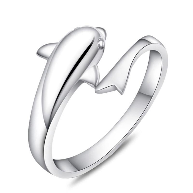 925 Sterling Silver Jewerly Rings Dolphins Dragonfly Wings Of The Angel Love Fox Butterfly Opening Adjustable Ring For Women 080158
