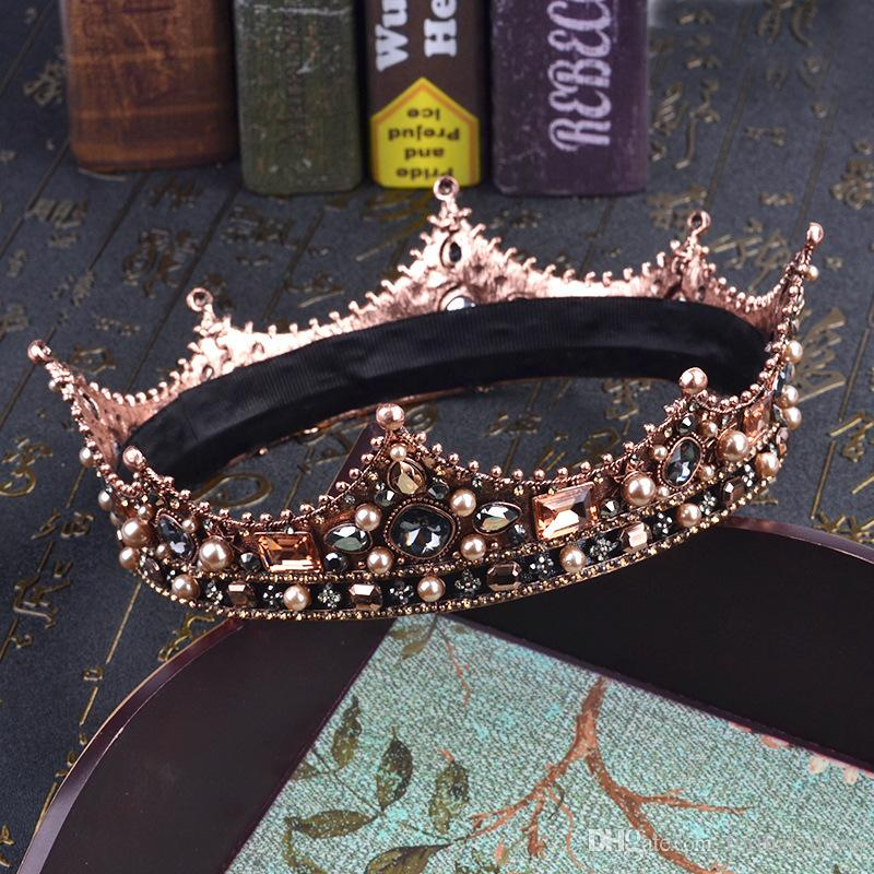 Vintage European Round Tiaras and Crowns High Quality Fashion Crystals Beaded Gorgeous Bridal Accessories 2017 Real Picture