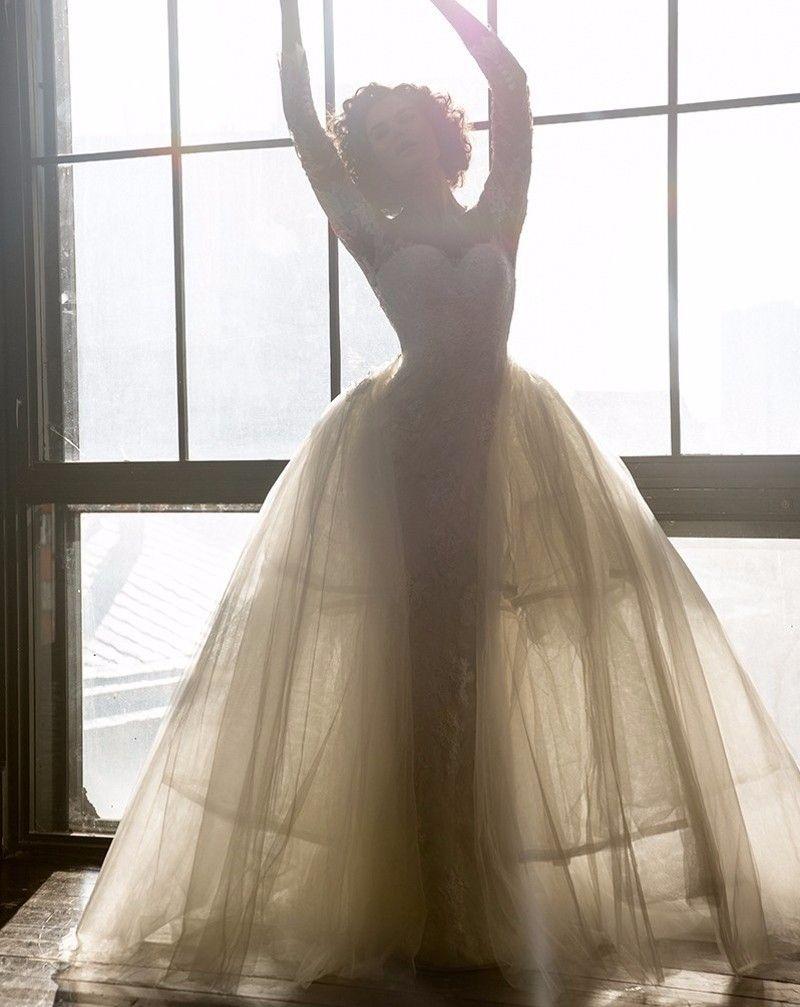 Pnina Tornai 2019 Modest Split Mermaid Wedding Dresses with Detachable Train Lace Off-shoulder Long Sleeve Arabic Dubai Bridal Gowns