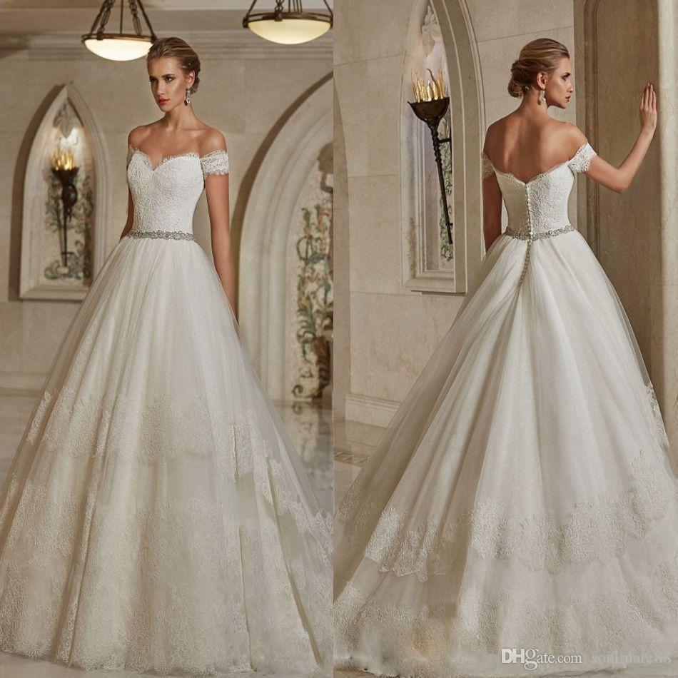 Discount classic off shoulder wedding dresses bridal gown discount classic off shoulder wedding dresses bridal gown sweetheart neckline lace short sleeves engagement dress with beads crystals custom made on line junglespirit Gallery