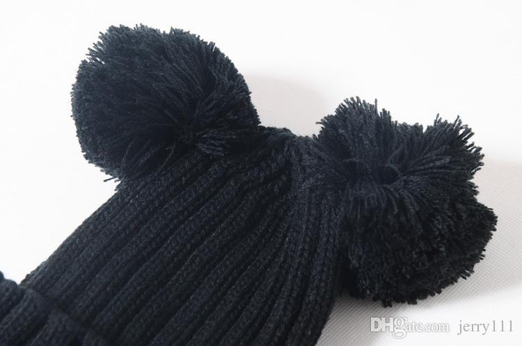 Çift Top Örme Çocuklar Kapaklar Beanie Hairball Kulak Şapka Sevimli Çocuk Kapaklar Örme şapka winnter sıcak şapka Çocuklar için 6 renkler LA332-2