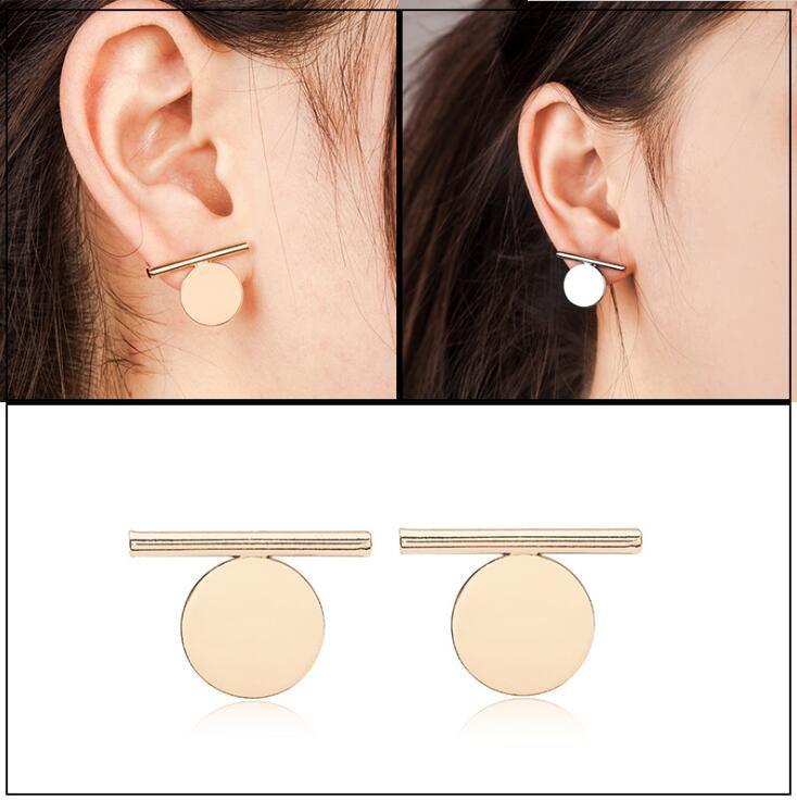 Novelty Alloy Geometry Pattern Stud Earring Personality Women Earring Silver Gold Plated Studs Korean Style for Girls Ear Jewelry
