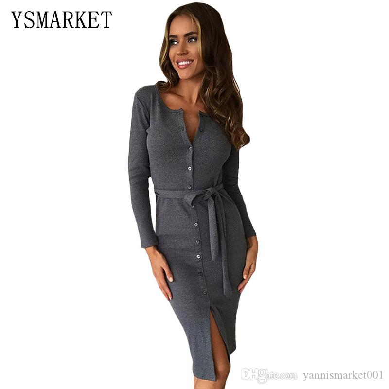 Sexy Gray Party Women Short Dresses Long Sleeve Solid Black Down Button Up  Ribbed Midi Cardigan Split Dress With Sash Belt 61385 Dress For Ladies Dress  Usa ... a3a641fd1