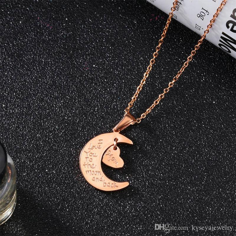 temperament moon and stars short chain clavicle titanium pendants I love you to the moon and back