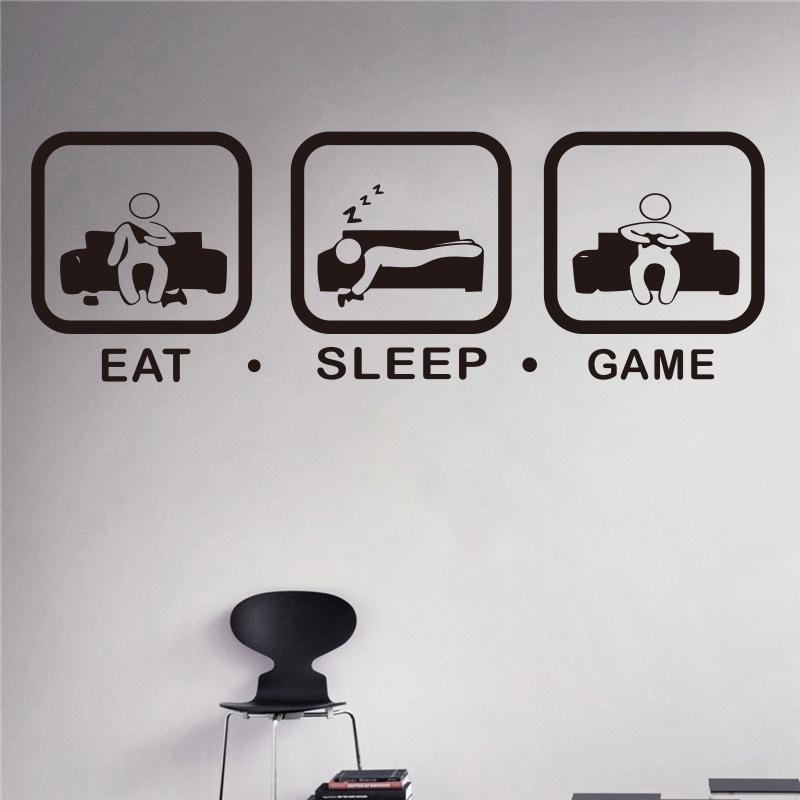 eat sleep game wall decal gaming joystick playing sticker wall decal