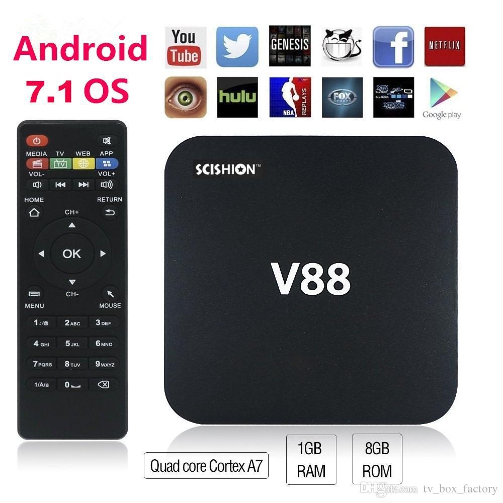 Коробка TV Андроида V88 7.1 от Rockchip RK3229 1г 8 ГБ H. 265 в мультимедийный плеер ОТТ коробки TV плеер 18.0 медиа-плеер
