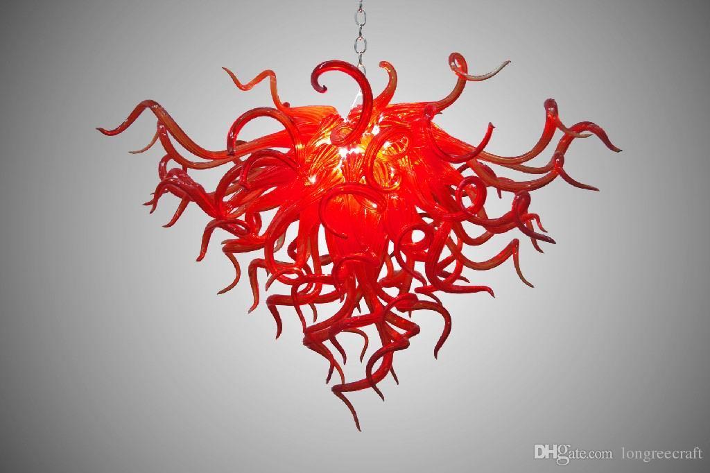 Beliebte Red handgemachte mundgeblasenes Glas-Kronleuchter Licht LED-Lampen Mini Glaspfeife DIY Kronleuchter Licht