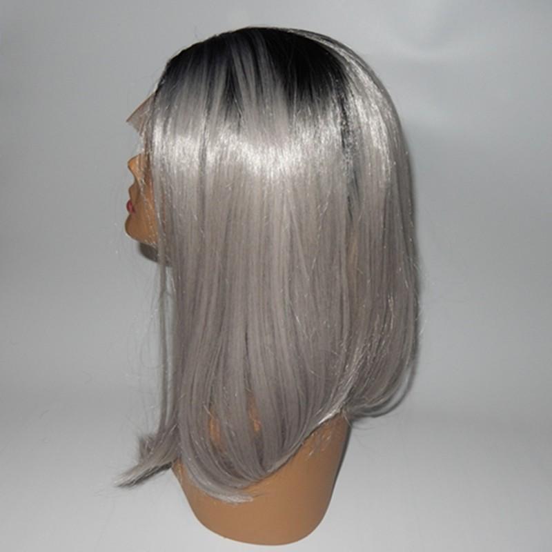 Celibrity style Ombre Gray Bob Wig Black/Silver Gray Lace Front Wig Short Grey Bob Wigs Synthetic Bob Glueless Wigs