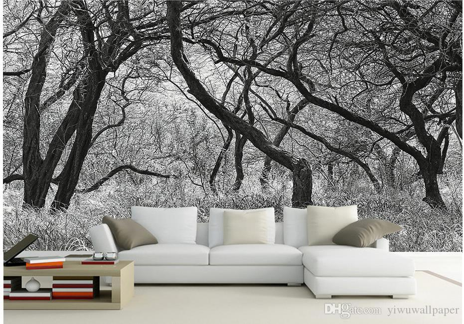 Acheter Arbres Noir Et Blanc Avec Des Fresques Murales 3d Papier ...