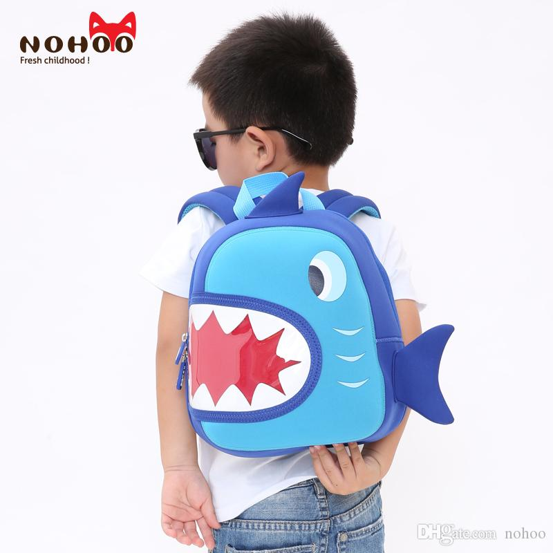 10a4b4908cc NOHOO Waterproof School Bags Blue 3D Shark Kids Backpack Cartoon Animal  Children School Bags For Girls Boys Toddler Baby Bag Messenger Backpacks  Most ...