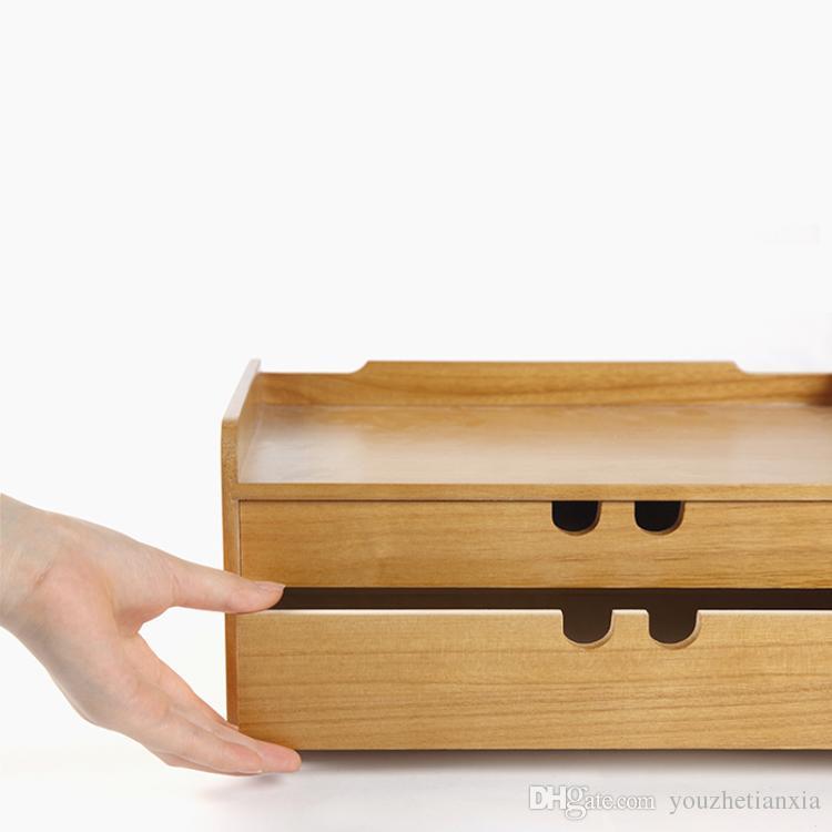 Takım dolabı vaka A4 Ahşap masa depolama çekmece enkaz kozmetik saklama kutusu bin takı ofis Yaratıcı hediye Ev