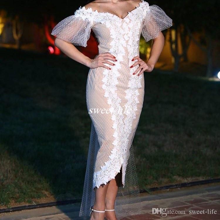 Arabic Tea Length Cocktail Dresses Off Shoulder Hi Lo Sheath 2017 Plus Size Blush Women Formal Evening Gowns Party Queen Dress White Lace