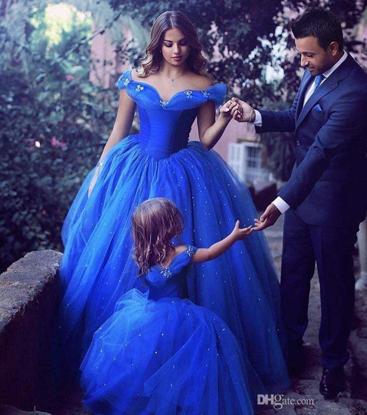 Royal Blue Infant Kleinkind Pageant Kleider 2018 Off-Schulter mit kurzen Ärmeln Mädchen Geburtstagsparty Kleid Ballkleid Little Flower Girls Wear