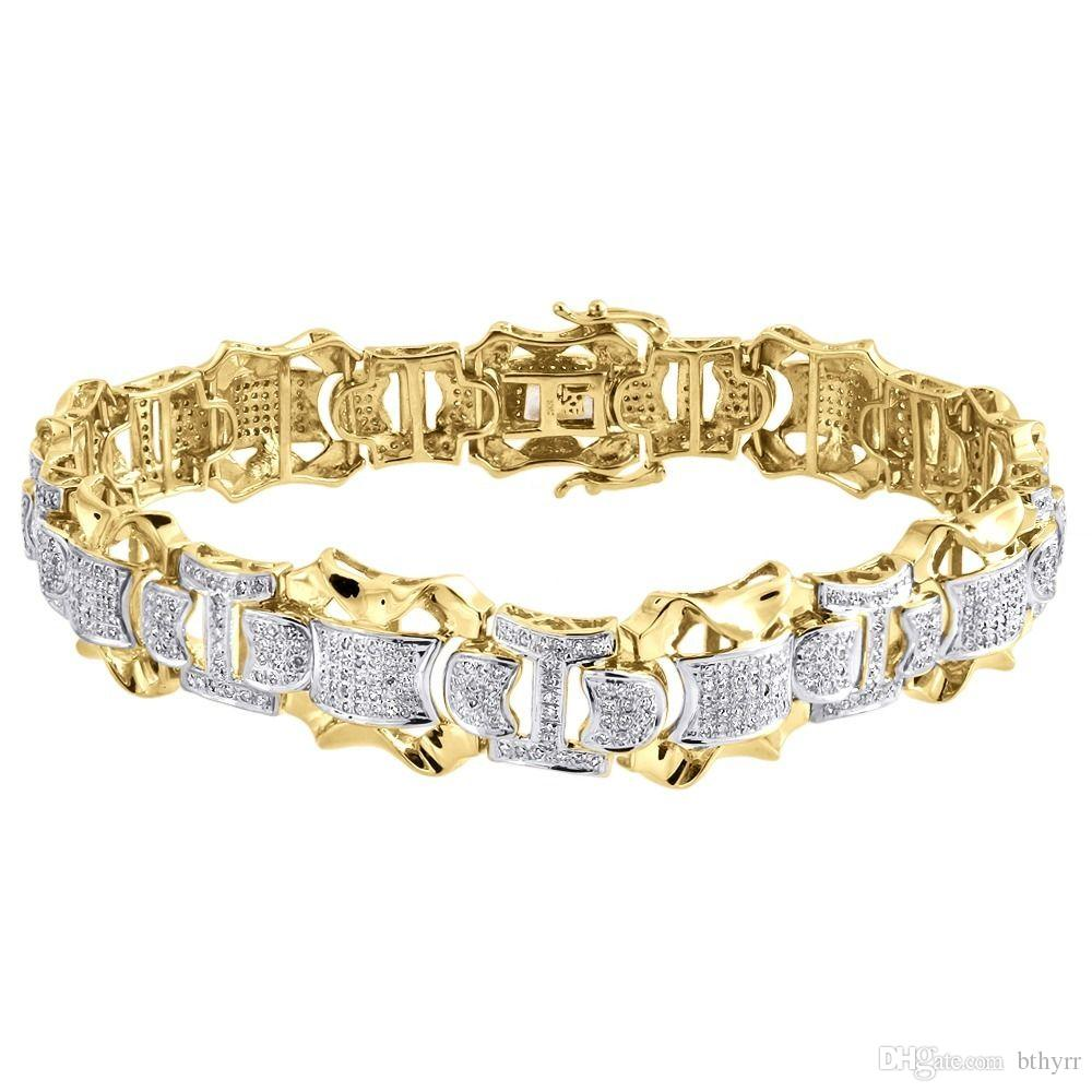 solid designer wh gold p diamond bracelet mens
