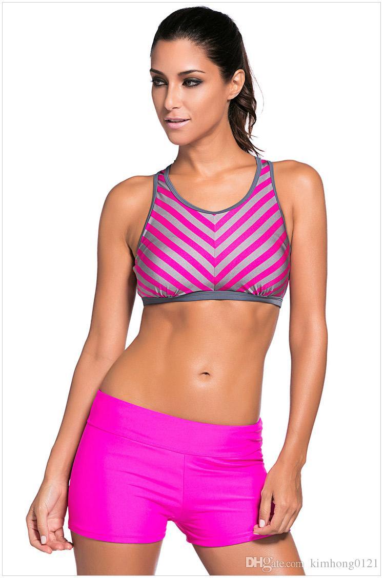 2994c30823d13 New Arrival Fashion Sexy Women Stripe Tank Top Bikini Set Printed Plus Size  Swimsuit Beach Swimwear