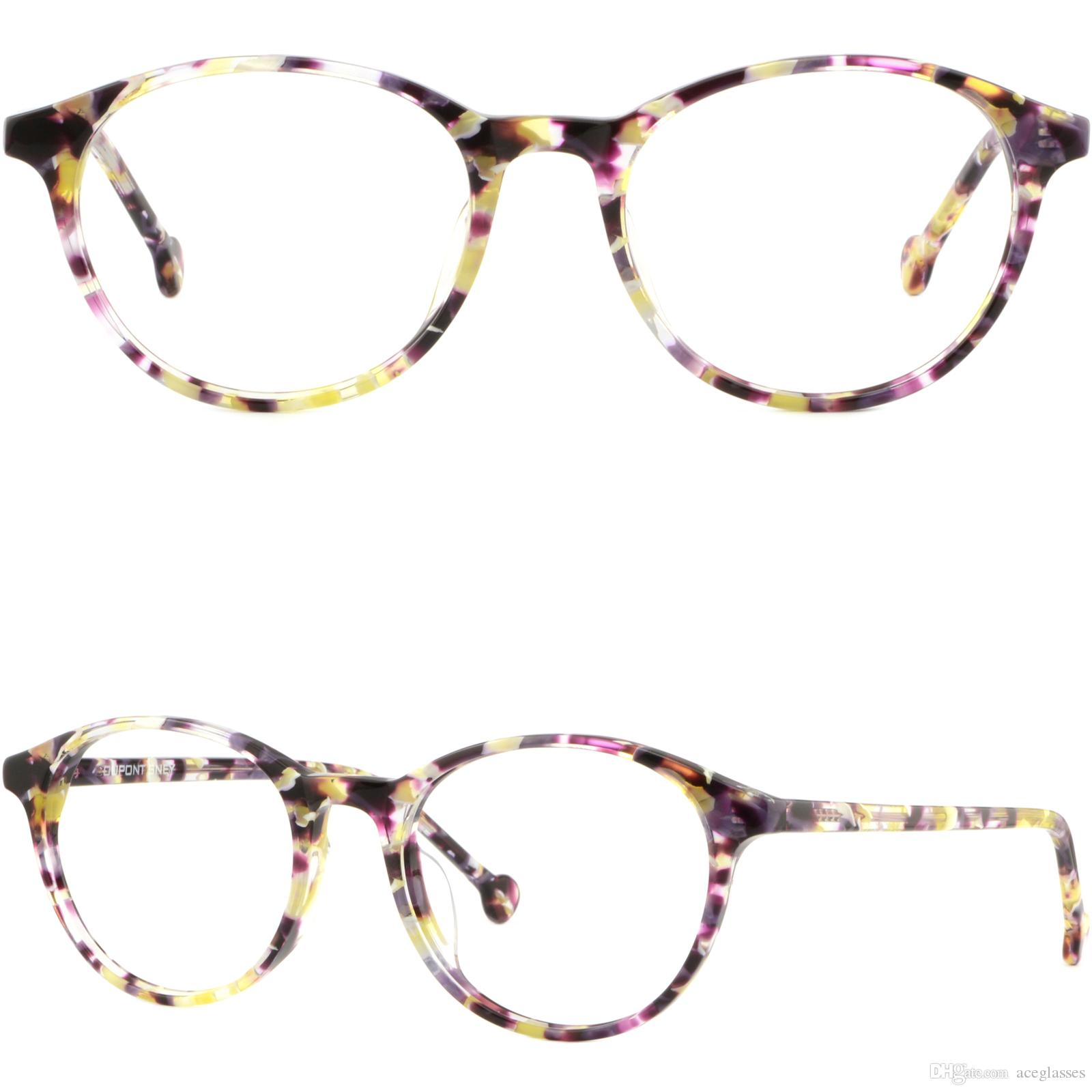 b1a1a1a86d2 Light Womens Plastic Frames Round Thin Acetate Glasses Yellow Purple  Brillengestell Fassung Damenbrille Rund Brillengestell Eyeglass Frames  Wholesale How To ...