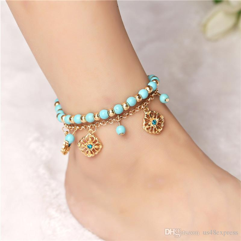 Bohemian Blue Beads Sexy Foot Chain Anklets for Women Gold Color