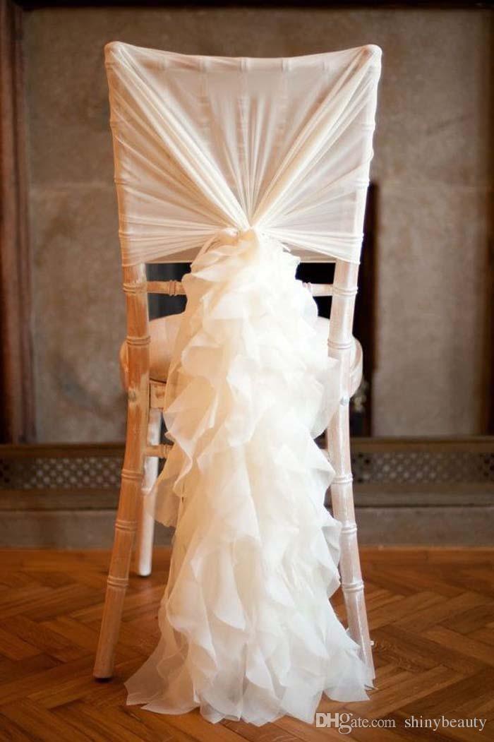 Top Part Spandex Sash Part Organza Ruffles Beautiful Wedding Decoration Wedding Events Chair Sash New Arrival
