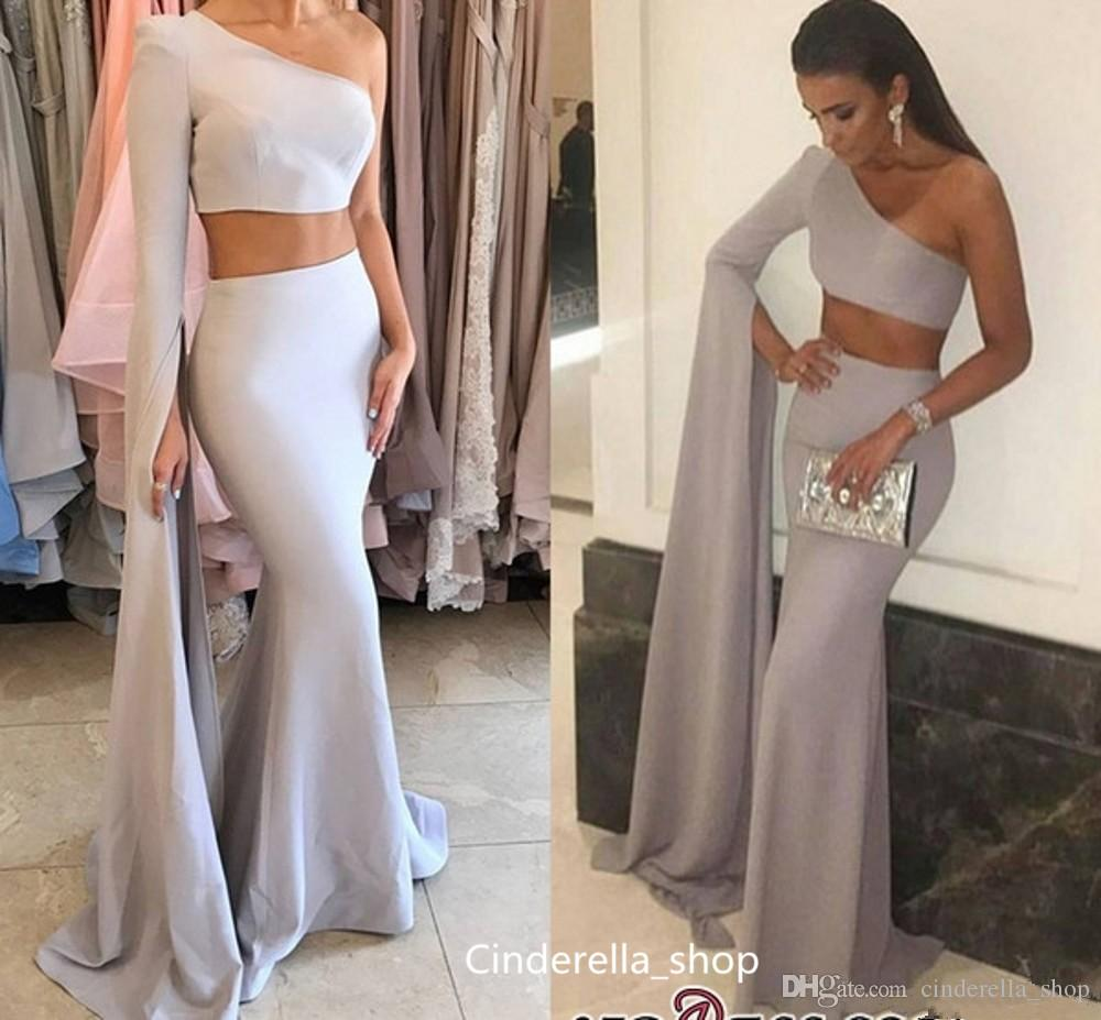 Two Pieces Mermaid Evening Dresses 2019 One Shoulder Long Train Sleeve Sweep Train Long Prom Dresses Arabic Formal Pageant Gowns