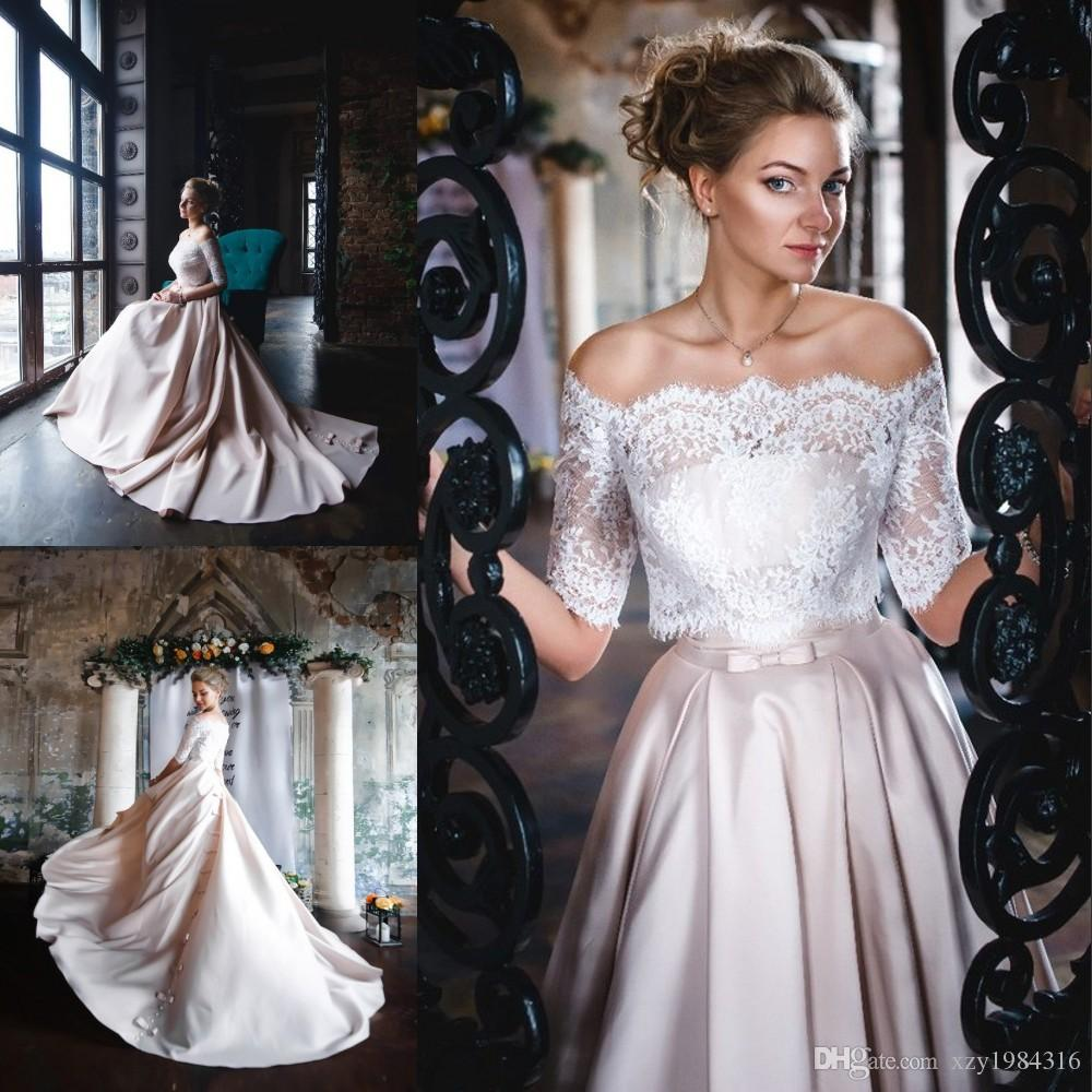 Graceful Satin Prom Dress Match Lace Blouse Simple Strapless Bows ...