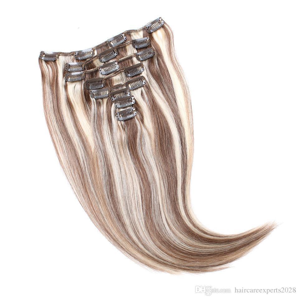 / set 100g castana marrone evidenzia clip bionda in estensioni dei capelli doppia trama pianoforte 6/613 clip in estensioni dei capelli umani