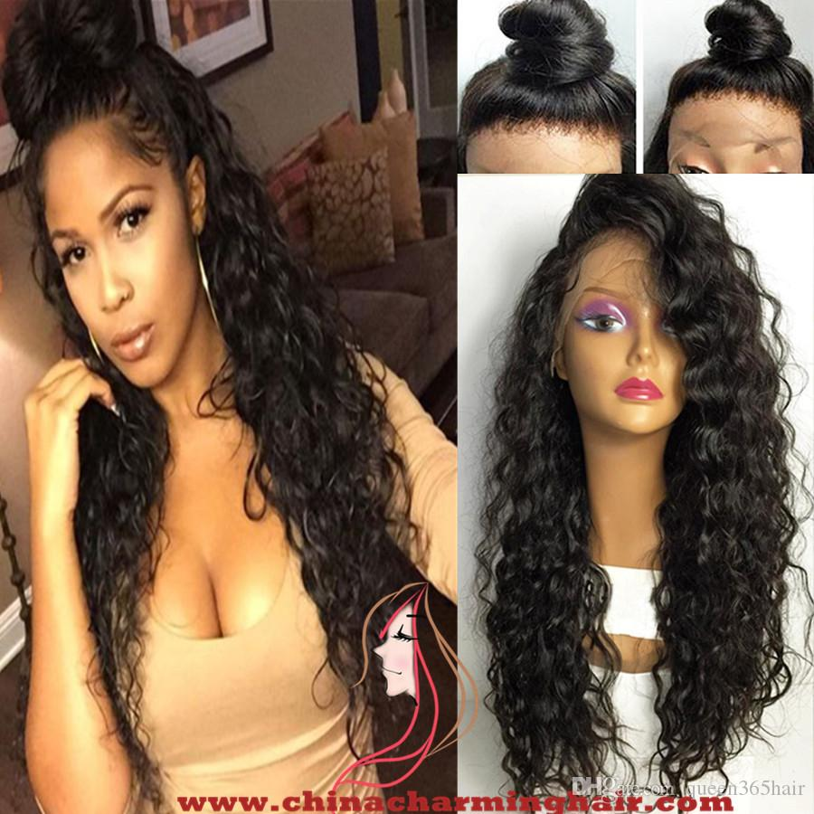 Wet wavy Human Hair Full Lace Wigs 8A Grade Virgin Soft Mongolian Unprocessed Human Hair wet wavy Lace Front Wigs For Women Bleached Knots