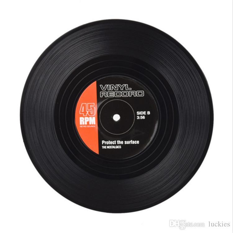 Sous-verres à boissons avec coffret-cadeau Ensemble de 6 sous-verres à disque vinyle rétro coloré avec étiquettes rigolotes-Prevent Furniture from Dirty