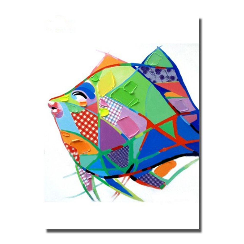 Hand made cartoon animal sea fish oil painting wall art canvas fabrics decorative design modern painting decoration