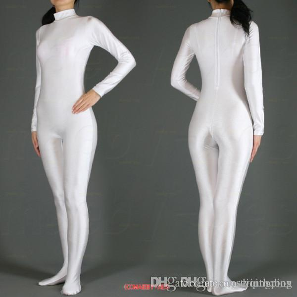 Free Shipping 2016 hot sale White Lycra Spandex Zentai Suit full body Halloween Women Fancy Costumes S-XXL Can be Custom