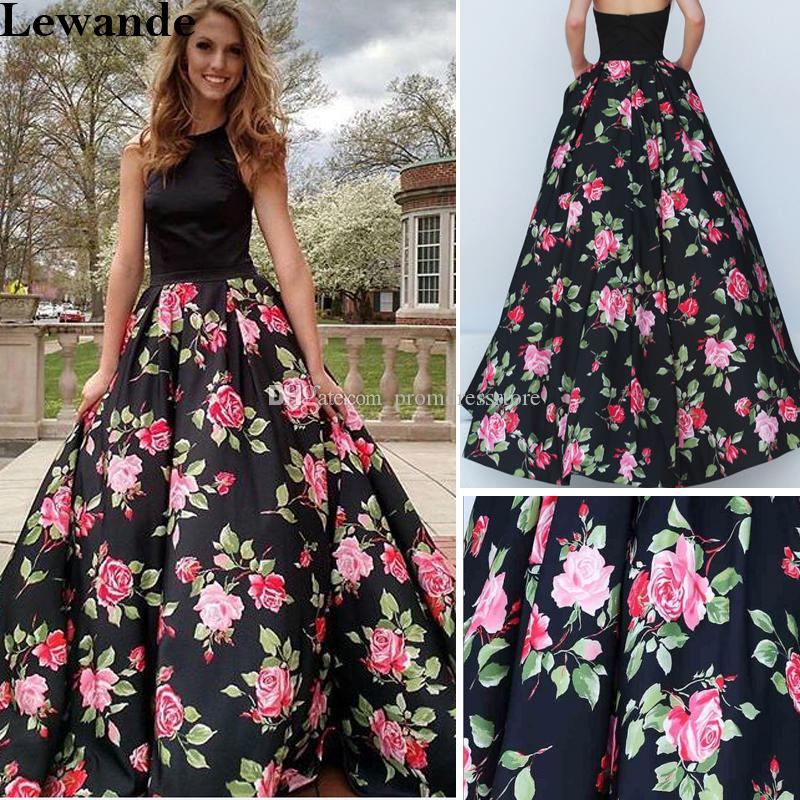 912cc0860fa 2017 Halter Satin Floral Print Prom Dress A Line Taffeta Long Open ...