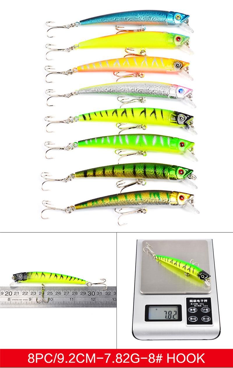 High Quanlity Fishing Lures Set Mixed 7 styles ABS Plastic Minnow Lure Crank Bait Pencil and Rattlin Baits