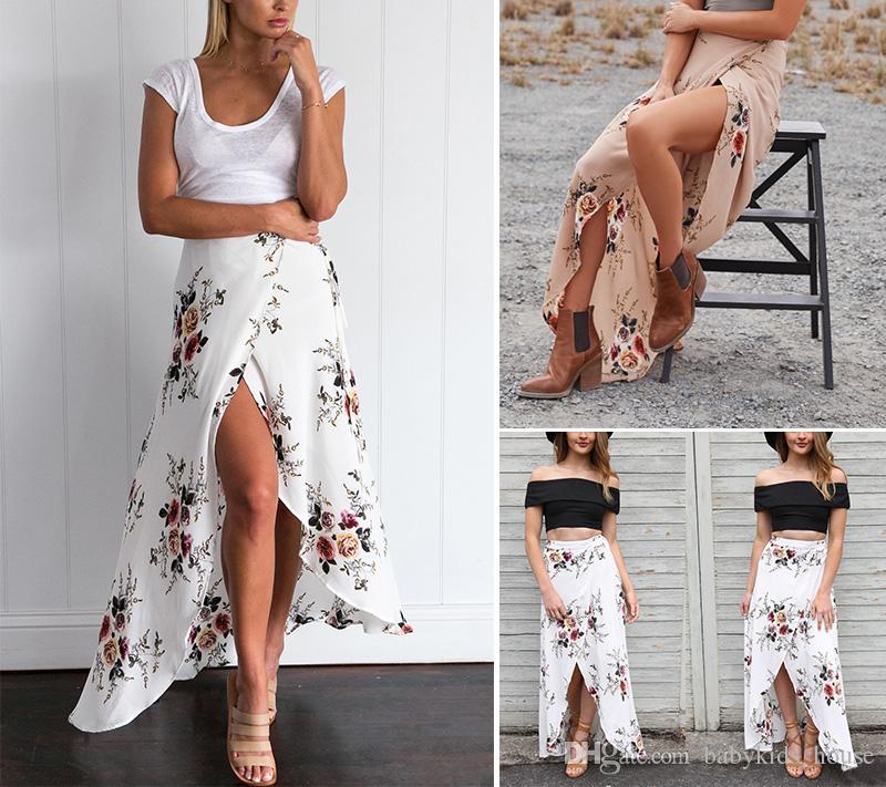 f844677e39 Vintage Floral Print Long Skirts Women Summer Elegant Beach Maxi Skirt Boho  High Waist Asymmetrical Skirt Short Cocktail Dresses Cotton Dress From ...
