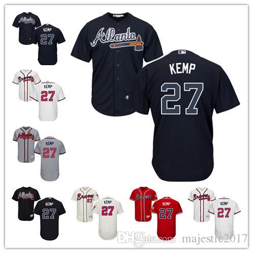... 2017 Matt Kemp Jersey 27 Atlanta Braves Baseball Jersey Flexbase  Coolbase Hot Sale White Grey Red ... 7b79d00b739