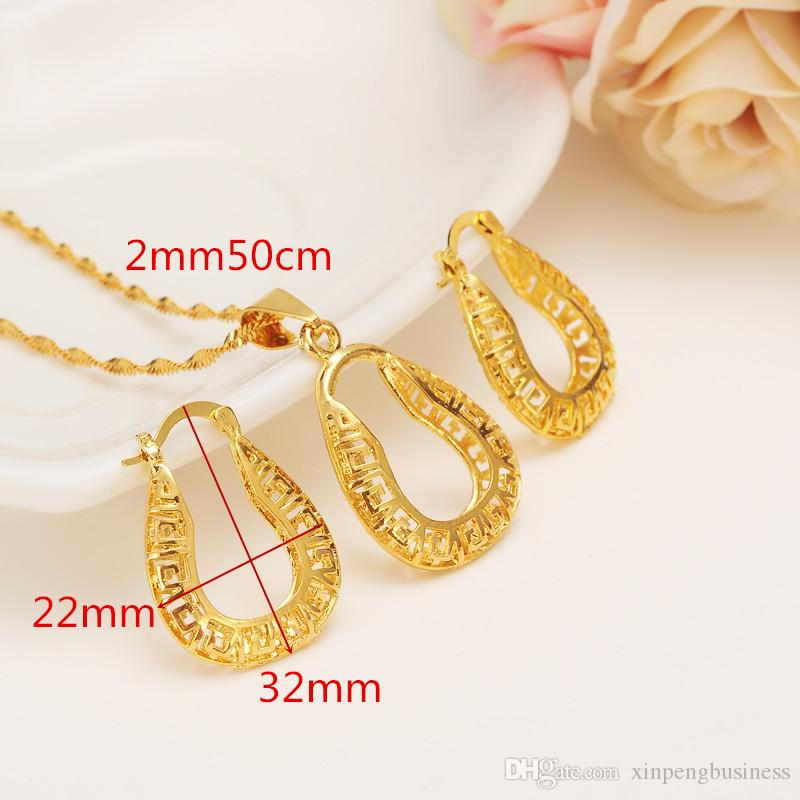 Ethiopian Real 14 k Yellow Solid Fine Gold GF FINISH set Jewelry Pendant Chain Earrings African Bride Wedding U Bijoux