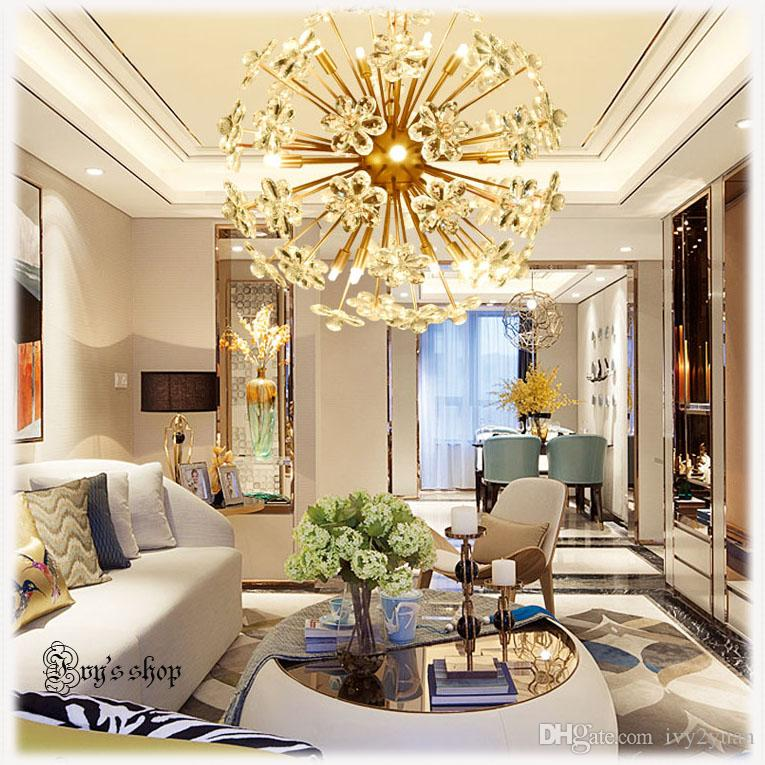 2017 Hot Sale Post Modern Bauhinia Crystal Chandelier Living Room Bedroom Restaurant Creative Personality And Simple Fashion Pendant Lamp Birdcage