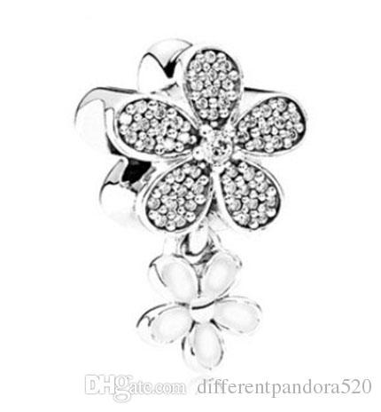 Adatto Pandora Bracciale in argento sterling 925 rosa smalto cristallo di magnolia ciondola perline charms europeo fascino serpente catena di moda fai da te jewelr