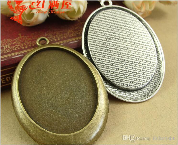 38*55MM Fit 40*30MM European exquisite antique silver metal accessories jewelry stamping blank, vintage bronze oval bezel bases