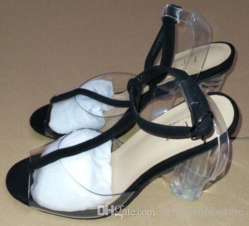 Nouveau design femmes clear sandales cristal haut talon boucle sangle femmes parti chaussures 11cm transparent sandales de mariage