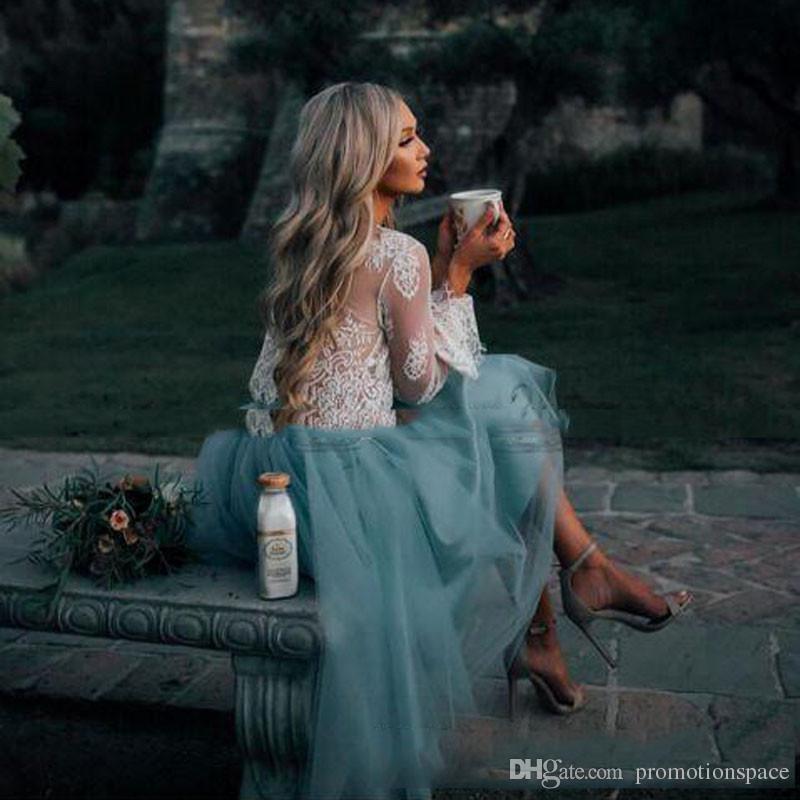 2017 белый и мята кружева двух частей с длинным рукавом короткие платья выпускного вечера иллюзия Boho Party Preams выпускные модные вечерние платья дешево