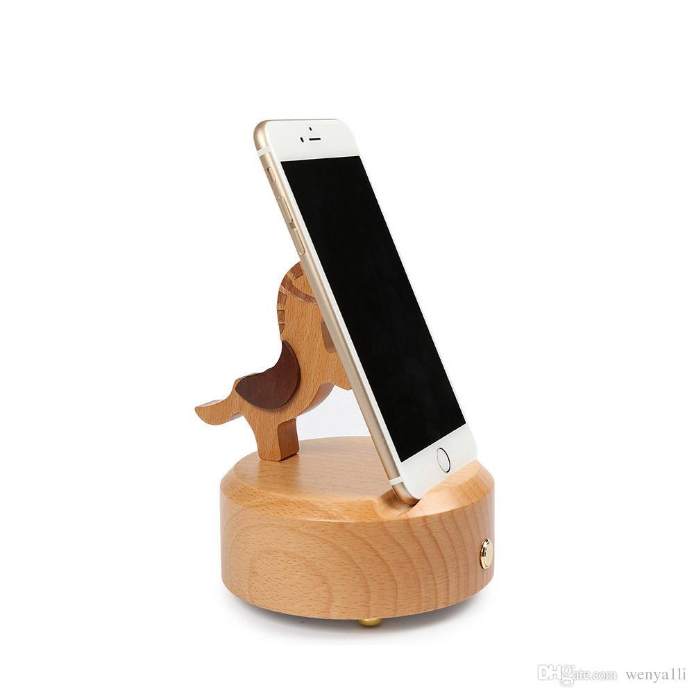 New style Wooden horse Speaker Mini Wireless Speaker bluetooth Animal Music Player Wooden Caixa De Som Phone Holder Pad Stand phone Bracket