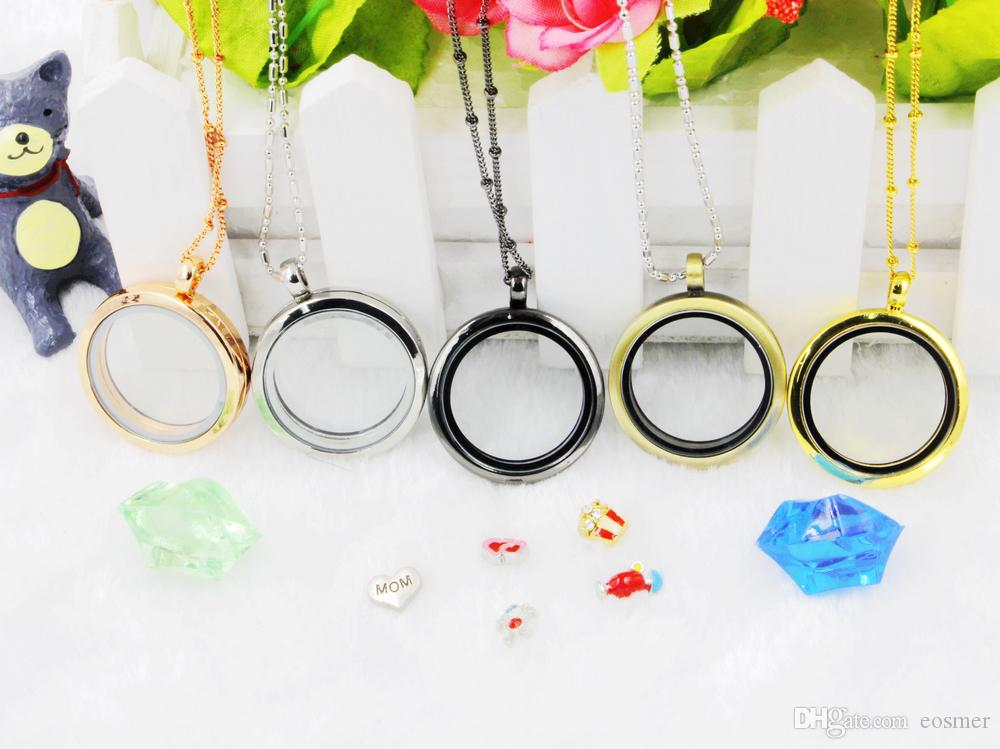 Hot selling 30mm plain circle DIY floating locket photo frame magnetic round meomery necklace pendant 5PCS/lot -(free chain included)