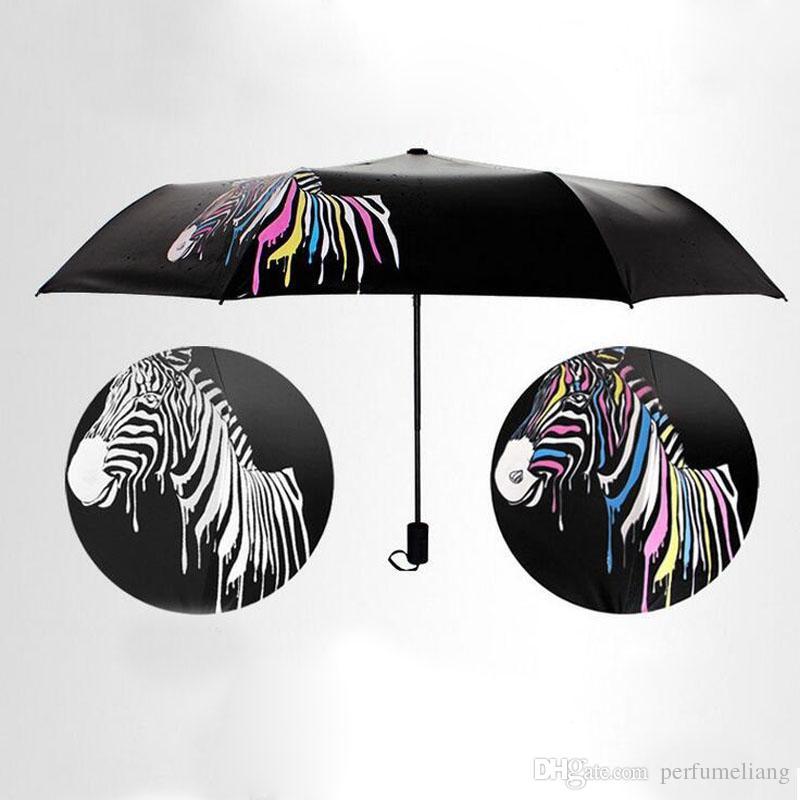 ветрозащитный зонт дождь женщины изменение цвета зонтик зонтик складной зонтик зебра мини пакет мужской зонт для подарка ZA2985